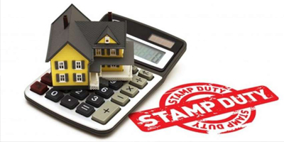 Stamp duty stamp with house on calculator